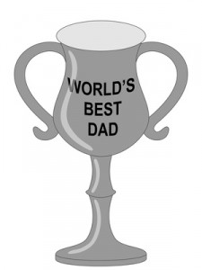 "Vector of a silver trophy with wording ""World's Best Dad"""